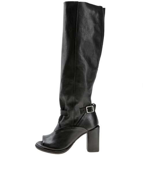 Peep-toe boots nero